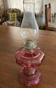 Cranberry/pink Depression Era Glass Octagon Base Oil Lamp Globe And Wick Working