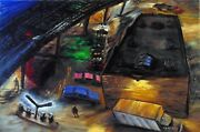 Arthur Robins Original Oil Painting Nyc Cityscape Rooftop With Garbage Truck