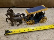 Cast Iron Horse And Carriage Cloth Fringe Canopy Stanley Toys Buggy Cart Wagon
