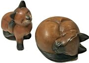 Vtg Carved Solid Wood Siamese Cat Figurines Sleeping Curled And Scratching Ear Set