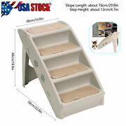 Pet Stairs 4 Steps Foldable Dog Cat Steps Ladder Puppies Staircase Bearing 143lb