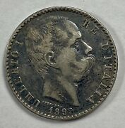 1899 Italian 2 Lire Umberto I Silver Coin Better Date Carat Coin