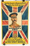 Original And Important Canada Wwi Army Recruiting Poster Featuring Kitchener