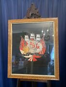 Burr Walnut Framed Sailors Silk And Wool Cushioned Embroidery Or Woolie C.1890