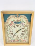 Retro Vintage 60s Wall Clock Wood Glass Large Kitchen Embroidered Fruit Basket
