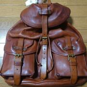 Used Rrl Polo Leather Mens Backpack Brown Color With Tag