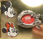 Vtg Disney Mickey Minnie Mouse Head And Donald Photo Frame Refrigerator Magnets