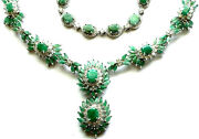 Gorgeous 2 Pc. Necklace And Bracelet - Faceted Lab Green Jade And Crystal