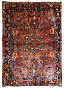 Handmade Antique Oriental Rug 3.4and039 X 5.3and039 103cm X 161cm 1920s - 1b697