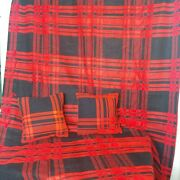 Vintage Red Buffalo Plaid Homemade Wool Lap Blanket And 2 Matching 12 Pillows