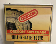 Vintage Oregon Chain Saw Chainsaw Gas Oil Farm Tool Lighted 2-sided Sign Works