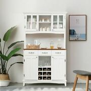 Durable White Buffet And Hutch Kitchen Storage Cabinet Unit