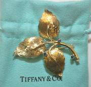 Vintage 1960and039s And Co 18k Gold Blue Sapphire Floral Leaf Brooch Pin
