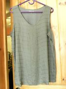 Beaded Coldwater Creek Olive Green Tunic Tank Top Size Xl