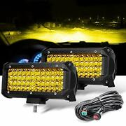 7 Inch Yellow Fog Lights Led Driving Lamp With Wiring Harness12ft /2 Lead 2 P...