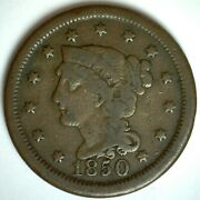 1850 Us Large Cent Copper Braided Hair 1c Coin Very Good Circulated One Cent