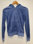 Juicy Couture Blue tracksuit Hoodie Medium Terry Cloth Zip Up Sweater