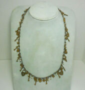 Vintage Antique Brass Hearts, Locks And Keys + Faux Pearls 24 Inch Long Necklace