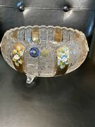"""Bohemian Czech Vintage Gold Painted Crystal Footed Bowl 8"""" Queen Lace 24 Lead"""