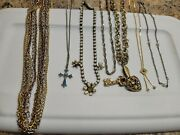 Lot 7 Vintage/modern Chain Necklaces Cross Pendant Gold Silver Toned Key Heart