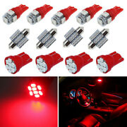 13pcs Red Led Car Interior Package Kits For Dome Light License Plate Lamp Bulbs