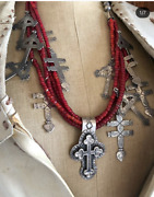 White Heart Trade Beads Sterling Silver Crosses Red Milagros Native Necklace
