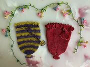 Lot Of 2 Antique Ottoman Crocheted Coin Purses From Late 1800s And A Floral Trim