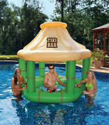 Swim Central 7.5ft Inflatable Floating Tropical Tiki Bar For Swimming Pool