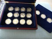 Complete Set Of 15 European Silver Euro Medals, All Different Countries