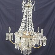 Antique Chandelier French Basket Crystal Prisms Vintage 24 X 24 Replacement
