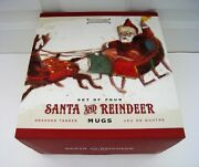 New In Box Williams-sonoma Set Of Four 4 Santa And Reindeer Mugs Marc Lacaze