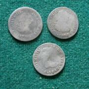 1786 1808 1816 Mo 3 Coins Lot Mexico Colonial Silver 1/2 Real