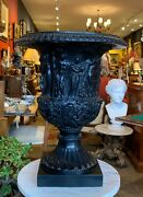Large Neoclassical Grand Tour Neoclassical Black Replica Of Borghese Vase