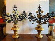 19th Century Baroque Italian Giltwood Wrought Iron Large Candelabra - A Pair