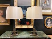 Pair Of Elegant Charles X Style Bronze And Ormolu Table Lamps With Silk Shades