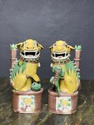 A Rare Qing Dynasty Famille Verte Et Jaune Foo Dogs - A Pair
