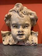 Italian Early 20th Century Carved Wood Polychrome Wall Hanging Cherub Putti Face