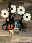 Xbox 360 The Beatles Rock Band Bundle Drums Pedal Guitar Microphone Games