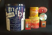 Vintage Lot Of Tin Advertising Cans Mfb Shortening Keebler Bachman Drosteand039s More