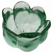 Vintage Green Glass Footed Tulip-candle/candy Dish Depression Thick Heavy Clear