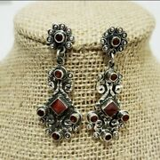 Taxco Mexican Vintage Style 925 Sterling Silver With Coral Dangle Earrings