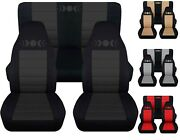 Front And Rear Car Seat Covers Fits Jeep Wrangler Yj-tj-lj Moon Phase Design