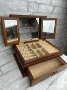 Vintage Commodore Collection By Rosalco Art Deco Wood Jewelry Box 3 Mirrors