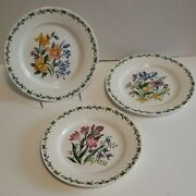 Thomson Pottery Floral Garden Salad Plates 7 And 3/8 - Set Of 3