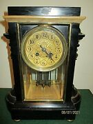 Antique Slate And Marble Mantle Clock By Japy Frieres