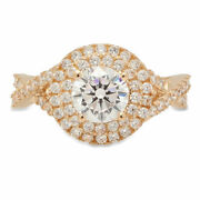 1.3 Ct Round Shape Natural Vs1 Conflict Free Diamond 18k Yellow Gold Halo Ring