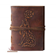 Wolf Embossed Handmade Leather Bound Journal Writing Notebook Diary Notepads For