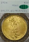 1924 20 Pcgs Ms61 Cac Gold Liberty Double Eagle Ogh Rattler Old Green Holder
