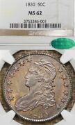 1830 50c Ms62 Cac Small 0 Capped Bust Silver Half Dollar Toned
