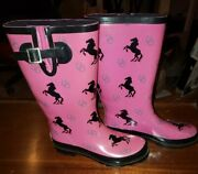 Bit And And Bridle Black Pink Horses Girls Womanand039s Rain Water Boots Sz 7 Great